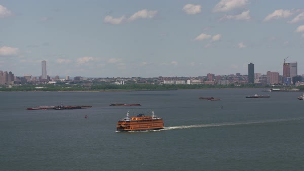 Aerial shot of Staten Island Ferry in New York Harbor.   Royalty-free stock video