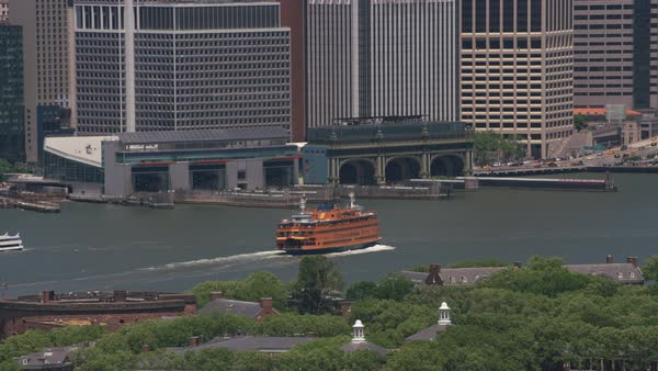 Aerial shot Staten Island Ferry approaching ferry terminal.   Royalty-free stock video