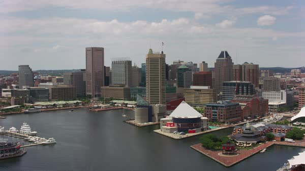Aerial approach to Baltimore from the inner harbor.   Royalty-free stock video