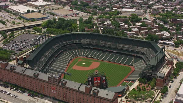 Aerial view of Oriole Park at Camden Yards baseball stadium.   Royalty-free stock video