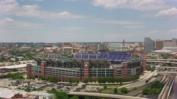 Aerial view of M&T Bank Stadium, home to Baltimore Ravens football team.    Royalty-free stock video
