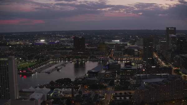 Aerial view of downtown Baltimore at sunset.   Royalty-free stock video