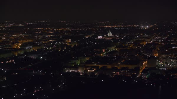 Aerial view of the Capitol Mall area at night.   Royalty-free stock video