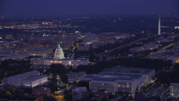 Aerial view of the Lincoln Memorial, Washington Monument and Capitol Building at dawn.   Royalty-free stock video