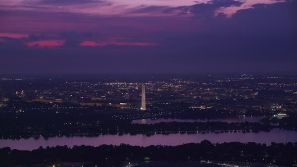 Aerial view of sunrise over Potomac River and Washington D.C.   Royalty-free stock video