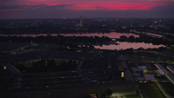 Early morning aerial view of Pentagon with Potomac River and city in distance.   Royalty-free stock video