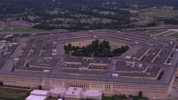 Aerial view of Pentagon at sunrise.    Royalty-free stock video