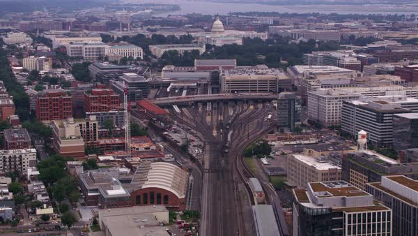 Aerial view of Union Station tracks leading to Capitol.   Royalty-free stock video