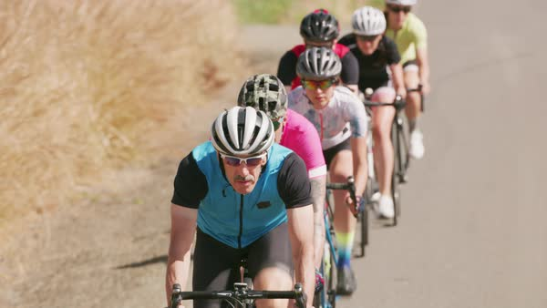 Group of cyclists on road Royalty-free stock video