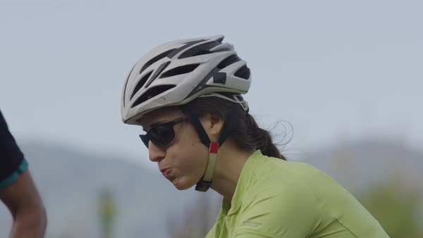 Closeup of cyclist taking drink of water Royalty-free stock video