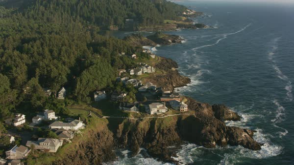 Aerial shot of Oregon Coast north of Newport.   Royalty-free stock video