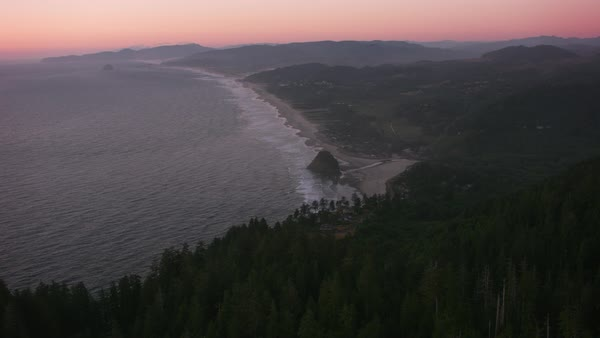 Aerial approach to Proposal Rock in Neskowin, Oregon.   Royalty-free stock video