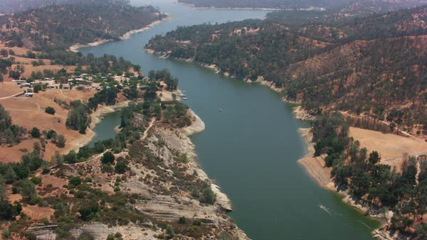 Aerial shot of Lake Nacimiento in California.   Royalty-free stock video
