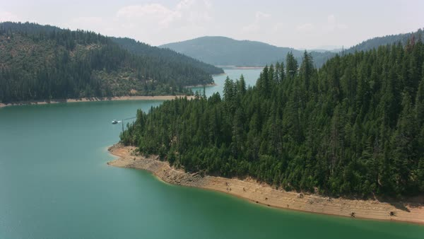 Aerial of beautiful lake in Northern California.   Royalty-free stock video