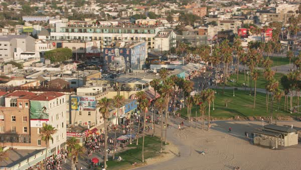 Aerial shot of Venice Beach.   Royalty-free stock video