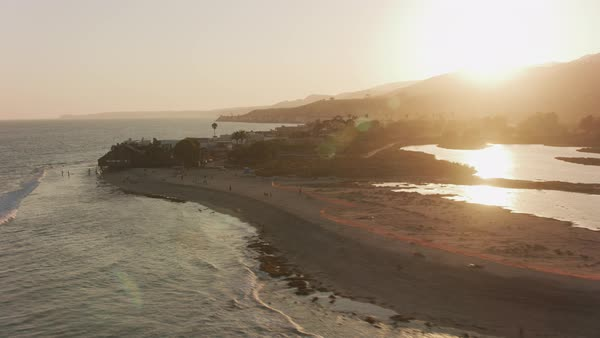 Aerial shot of Malibu beach at sunset.   Royalty-free stock video