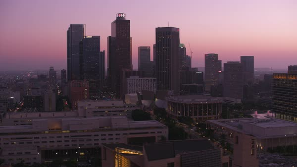 Aerial shot of Los Angeles at dusk.   Royalty-free stock video