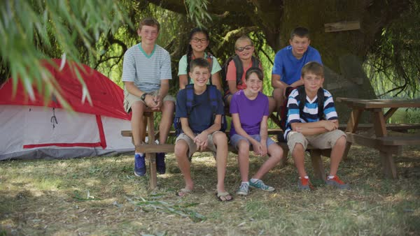 Kids at summer camp take group photo Royalty-free stock video