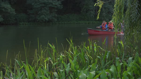 Kids at summer camp paddling canoe in pond Royalty-free stock video