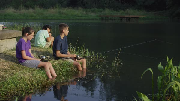 Kids at summer camp fishing in pond Royalty-free stock video
