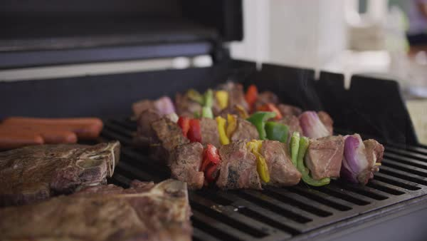 Closeup of steaks and skewers on backyard barbeque grill Royalty-free stock video