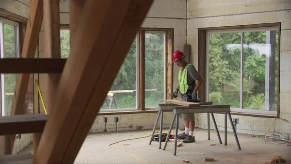 Construction worker working on remodel Royalty-free stock video