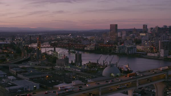 Aerial shot of Portland from east side looking across Willamette River.   Royalty-free stock video