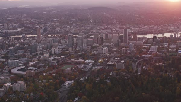 Aerial shot of Portland with sun rising.   Royalty-free stock video