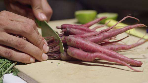 Close-up shot of person cutting off the stems of a bunch of carrots Royalty-free stock video