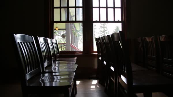 Medium shot of rows of chairs Royalty-free stock video