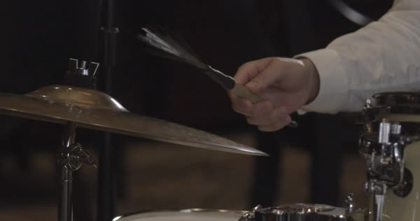 Close-up shot of a man playing the drum Royalty-free stock video