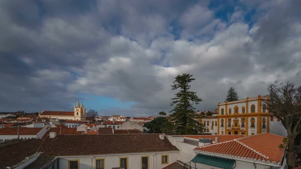 Angra do Heroismo roofs time lapse in Terceira Royalty-free stock video