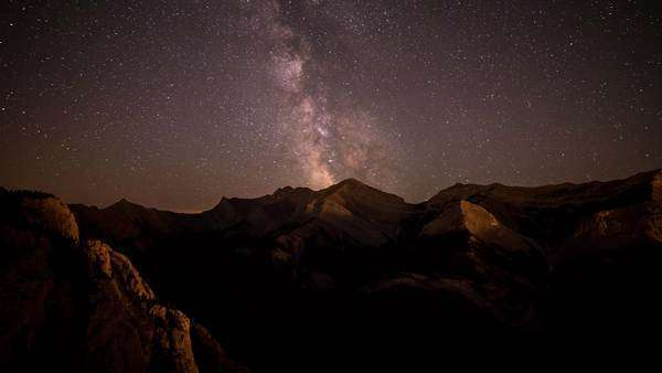 Following the Milky Way from Heart Mountain in Kananaskis Alberta Canada Royalty-free stock video