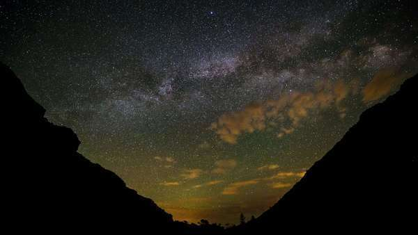 Light polluted clouds rolling through Joe's Valley, Utah Royalty-free stock video