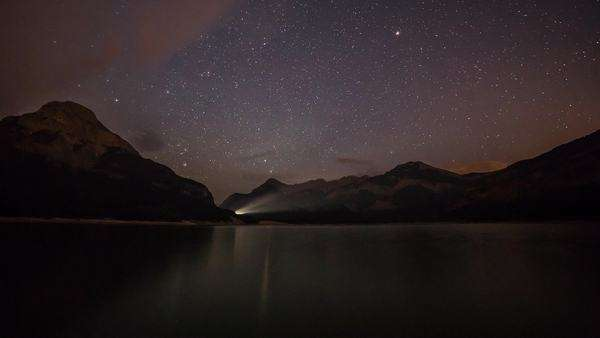 Stars rolling over Mount Baldy and Barrier Lake Royalty-free stock video