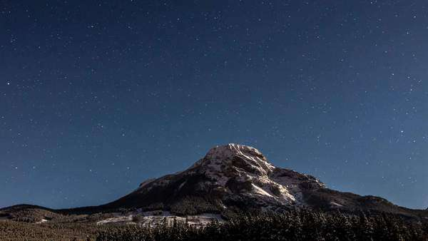 Timelapse of stars moving across Mount Baldy in Kananaskis Alberta Canada Royalty-free stock video