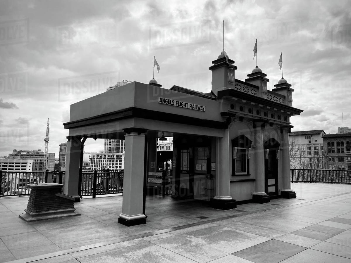 LOS ANGELES, CA, MAR 2020: station for Angels Flight, funicular railway, at California Plaza in Downtown on overcast day. Black and white Royalty-free stock photo