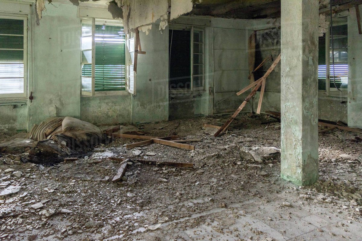 Old abandoned destroyed room in Italy colony Royalty-free stock photo