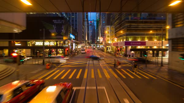 China, Hong Kong, Hong Kong Island, POV trams running between Central and Wan Chai - time lapse Royalty-free stock video