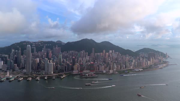 Elevated view, Harbour and Central district of Hong Kong Island and Victoria Peak, Hong Kong, China Royalty-free stock video