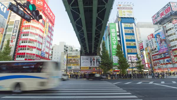 Japan, Tokyo, time lapse in the consumer electronics district of Akihabara Royalty-free stock video