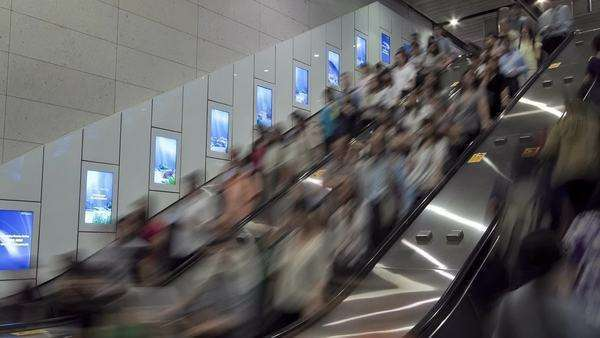 China, Hong Kong, WS People moving on a busy escalator, Timelapse Royalty-free stock video