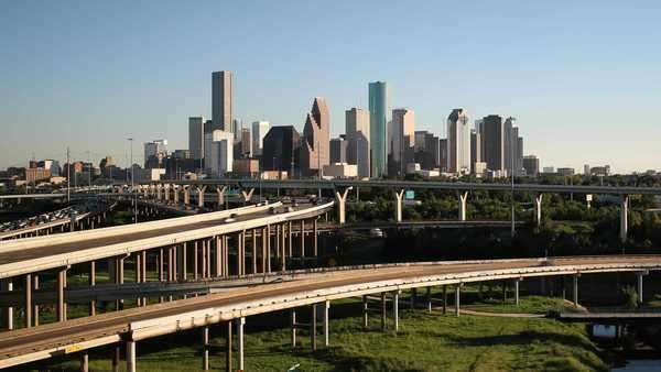 Houston, Texas, USA, highway, city skyline Royalty-free stock video