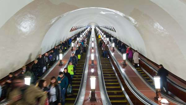 Russia, Moscow, Escalator leading into the world's deepest Metro system - timelapse Royalty-free stock video