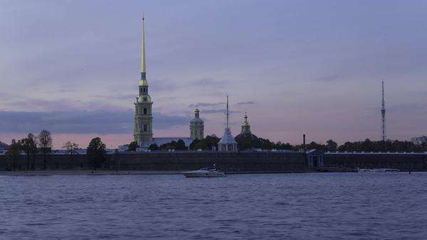 Russia, Saint Petersburg, Peter and Paul Fortress on Neva riverside, classified as World Heritage by UNESCO - day to night timelapse transition Royalty-free stock video