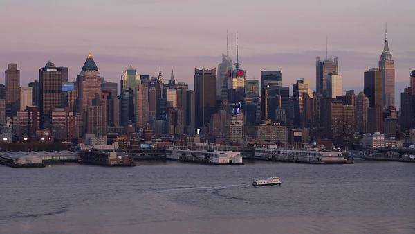 Manhattan, view of Midtown Manhattan across the Hudson River, New York, United States of America Royalty-free stock video
