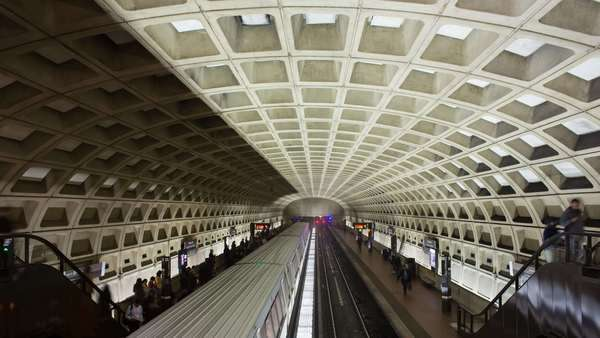 timelapse of people waiting on the platform for the underground train to arrive, Pentagon Subway Station, Washington DC, USA Royalty-free stock video