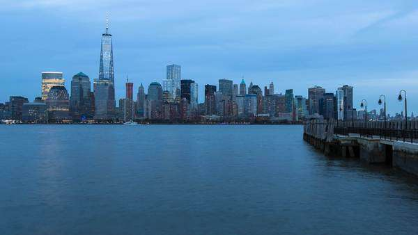 One World Trade Center and Downtown Manhattan across the Hudson River, New York, Manhattan, United States of America - timelapse Royalty-free stock video