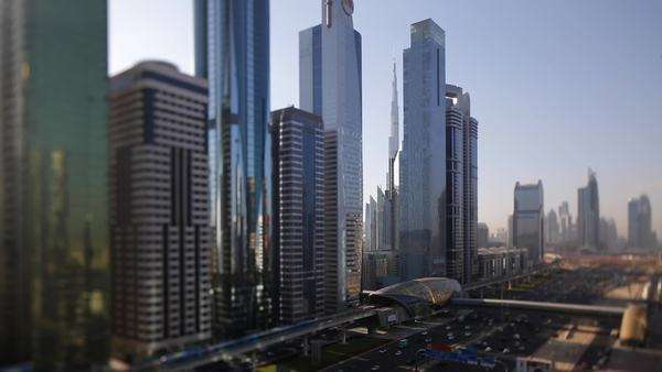 United Arab Emirates, Dubai, Sheikh Zayed Rd, traffic and new high rise buildings along Dubai's main road Royalty-free stock video