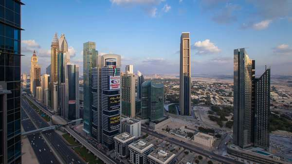 United Arab Emirates, Dubai, Sheikh Zayed Rd, traffic and new high rise buildings along Dubai's main road - timelapse Royalty-free stock video
